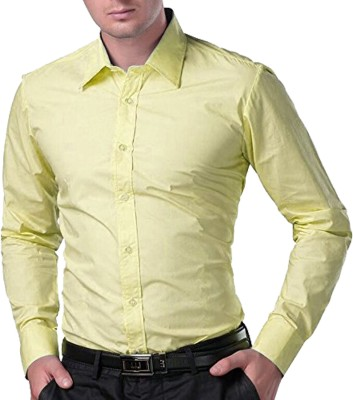 Trendz Deeksha Men Solid Casual Yellow Shirt