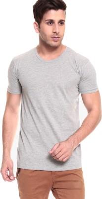 Smartees Solid Men's Round Neck Grey T-Shirt