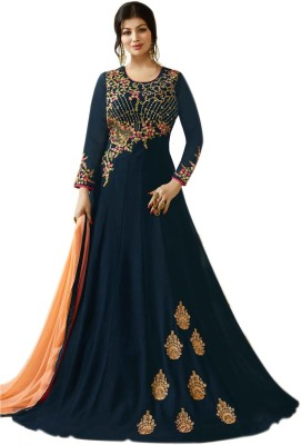 Aryan Fashion Store Faux Georgette Embroidered Dress/Top Material(Un-stitched)