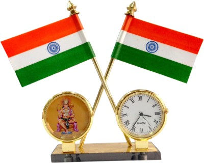 ManeKo India Quartz Watch & Hindu God Idol Hanuman Frame (Brass Polished Pipes) Double Sided Wind Car Dashboard Flag Flag(Rayon)