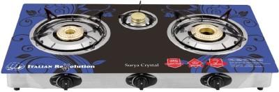 SURYA CRYSTAL Glass, Steel Automatic Gas Stove(3 Burners)