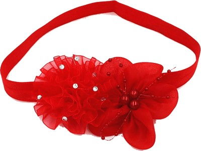 Ziory 1 Pcs Red pearl flower Headband Head Band Hair Accessories flower Elastic headband for Baby Girls and Toddler Girls Head Band(Red)