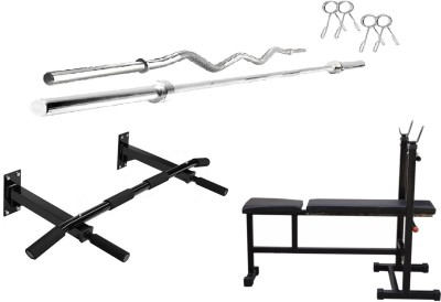 Star X COMBO of Gym Equipments, 3 in1 Fitness Bench, Wall Mount Chin Up Bar, 3 Ft & 5 Ft Rods Gym & Fitness Kit