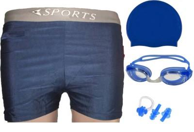 L'AVENIR PREMIUM Swimming Shorts + Goggles + Cap + Ear & Nose Plugs Swimming Kit