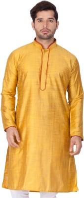 Vastramay Men Self Design Straight Kurta(Yellow)