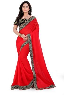 Fabcartz Embroidered Fashion Georgette, Velvet Saree(Red) Flipkart