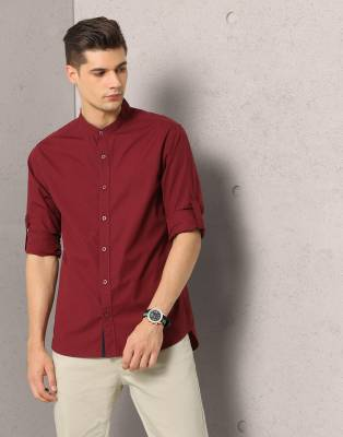 Metronaut Men's Solid Casual Mandarin Shirt