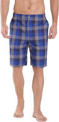 Jockey Checkered Men Blue Bermuda Shorts