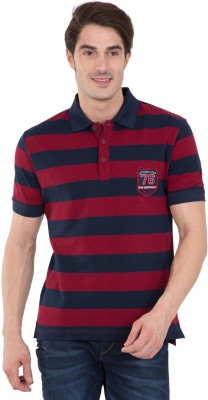 Peter England University Striped Men Polo Neck Maroon T-Shirt