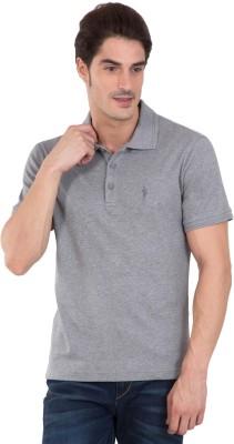Jockey Solid Men Polo Neck Grey T-Shirt