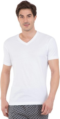 Jockey Solid Men V-neck White T-Shirt