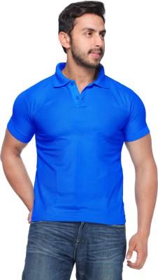 Demokrazy Solid Men's Polo Neck Blue T-Shirt