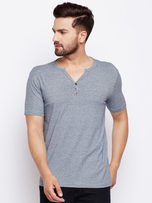 The Dry State Self Design Men's Henley Grey T-Shirt
