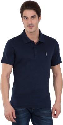 Jockey Solid Men Polo Neck Blue T-Shirt