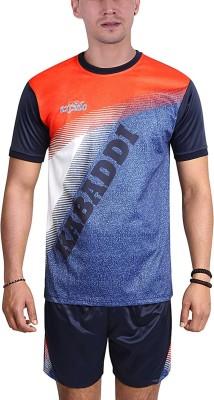 excido Men Round Neck Half Sleeve Sport Jersey, Kabaddi Jersey - Navy Blue, Size42 Printed Men Track Suit