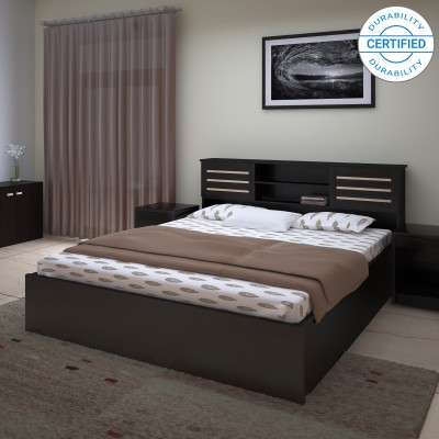 Urban Ladder Athens Solid Wood Queen Bed With Storage(Finish Color -  Dark Walnut)