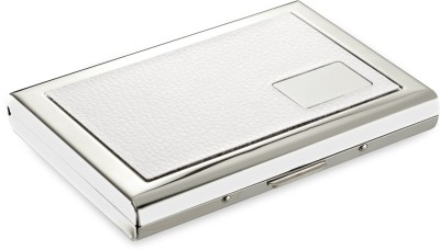 Flipkart SmartBuy High Quality Executive Steel White Leather Piece Matt Silver Finish ATM/ID/Visiting SUPER SLEEK, Sturdy 6 Card Holder(Set of 1, White)