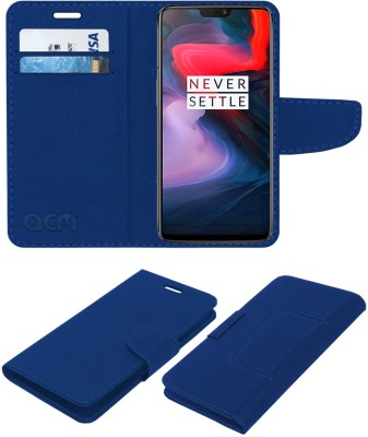ACM Flip Cover for OnePlus 6(Blue, Cases with Holder, Artificial Leather)