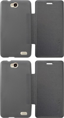 Coverage Flip Cover for Intex Aqua 4.5E -(Aqua 4.5E)(Black, Black, Waterproof, Artificial Leather, Rubber)