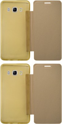 COVERNEW Flip Cover for Samsung Galaxy J5   6  New 2016 Edition  Gold, Waterproof