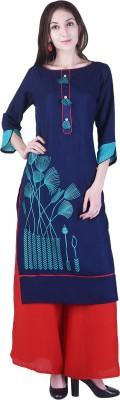 FLARY Women Embroidered Straight Kurta(Dark Blue)
