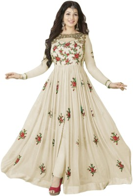 f7182a60c7ce 81% OFF on Ap Enterprise Georgette Embroidered Semi-stitched Gown   Salwar  Material on Flipkart