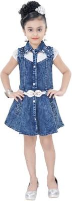 497d6ce94 Arshia Fashions Girls Midi Knee Length Party Dress(Blue