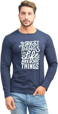 Oh Yes Printed Men's Round Neck Dark Blue T-Shirt