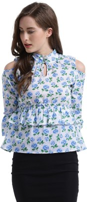 Texco Casual 3/4th Sleeve Floral Print Women Blue, White Top