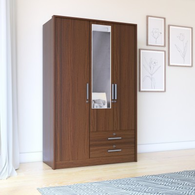 Perfect Homes by Flipkart Andes Engineered Wood 4 Door Wardrobe(Finish Color - Wenge, Mirror Included)