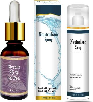 cosderma Glycolic Acid Peel 25% with Neutralizer Spray Fairness Whitening Treatment Anti Aging Anti-pigmentation Even Tone(130 ml)