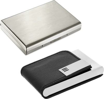 Flipkart SmartBuy High Quality | Pack of 2 | Stylish Silver metal Executive and Black Leatherite Finish Credit/debit/ATM/ID/Visiting SUPER SLEEK, STURDY 10 Card Holder(Set of 2, Silver, Black)
