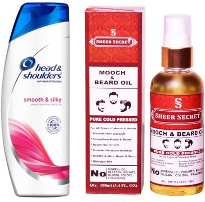 HEAD & SHOULDERS 180 ML SMOOTH AND SILKY SHAMPOO with SHEER SECRET PURE COLD PRESSED MOOCH AND BEARD OIL 100 ML(Set of 2)
