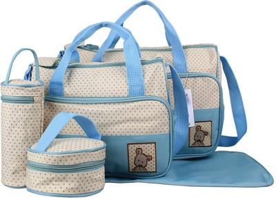 Wishkey Stylish Multi Purpose 5 Pcs Polka Print Blue Baby Diaper BagPack Organiser Set For Mother|Sturdy Nappy Changing Bag For Travel|Tote Mummy Shoulder Nursing Handbag| Multi Storage Large Capacity Maternity Bags For Mom Mutli Storage Diaper Bag(Sky blue)