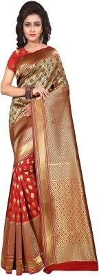 Saree Museum Self Design, Solid, Woven Banarasi Banarasi Silk, Art Silk, Poly Silk Saree(Red, Green)