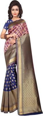 Saree Museum Self Design, Solid, Woven Banarasi Banarasi Silk, Art Silk, Poly Silk Saree(Blue, Pink)