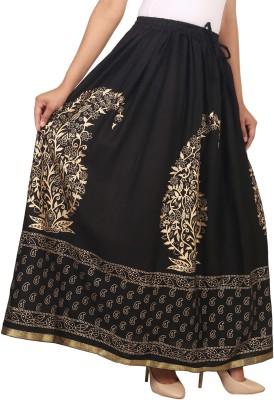 Home Shop Gift Printed Women Straight Black Skirt