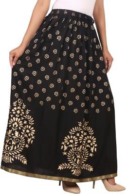 Home Shop Gift Printed Women A-line Black Skirt