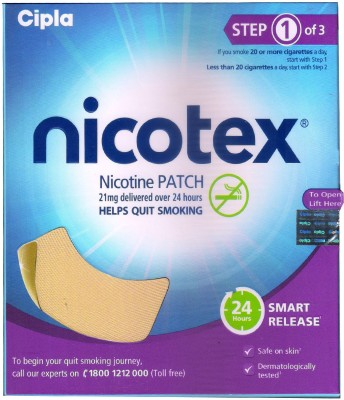 NICOTEX Nicotine Patch 21 mg (Step 1) - Patches 7 Pcs 24 hour patch Smoking Patch(Pack of 7)