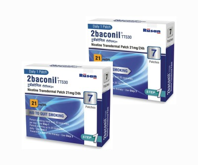 2baconil Nicotine 21 mg pack of 2 (14 pcs) 24 hour patch Smoking Patch(Pack of 14)
