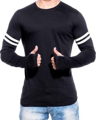 izzard Solid Men's Round Neck Black, White T-Shirt