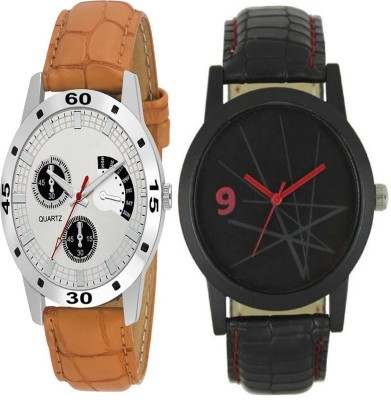newman AJ Stylish Silver Dial & Brown Belt & Simple Black & Red Dial Analog Watch  - For Men
