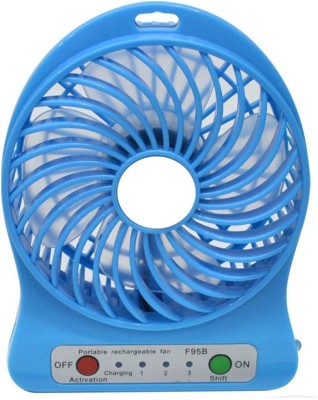 BUY SURETY Portable Fan Mini Air Conditioner Usb Mini Cooler/mini Fan/ceiling/usb Fan For Kitchen/home/indoor/outdoor/office Ceiling/wall/exhaust Mini Fan/cooler 4 Blade Table Fan(Blue)  available at flipkart for Rs.239