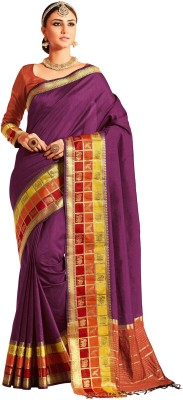 M.S.Retail Self Design Kanjivaram Silk Saree(Purple)