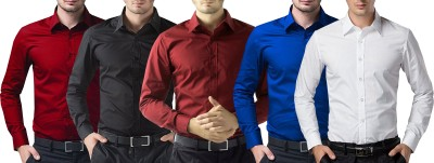 Trendz Deeksha Men Solid Casual Light Blue, Red, White, Maroon, Black Shirt(Pack of 5)