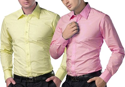 Trendz Deeksha Men Solid Casual Pink, Yellow Shirt(Pack of 2)