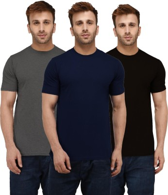 London Hills Solid Men Round Neck Multicolor T-Shirt(Pack of 3)