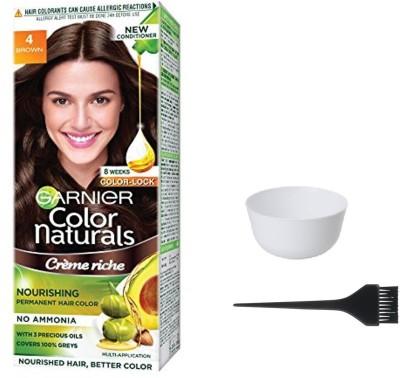 Garnier Color Naturals Hair Color (Brown No. 4) + 1 Mixing Bowl + 1 Dyeing Brush(Set of 3)