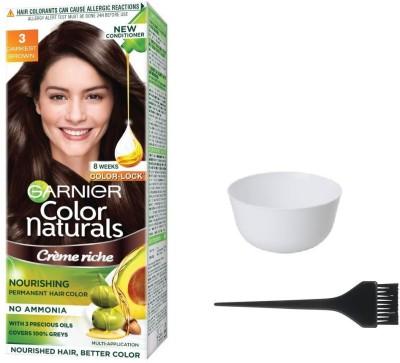 Garnier Color Naturals Hair Color (Darkest Brown No. 3) + 1 Mixing Bowl + 1 Dyeing Brush(Set of 3)