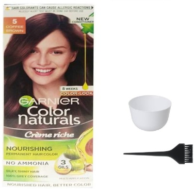 Garnier Color Naturals Hair Color (Coffee Brown No. 5) + 1 Mixing Bowl + 1 Dyeing Brush(Set of 3)